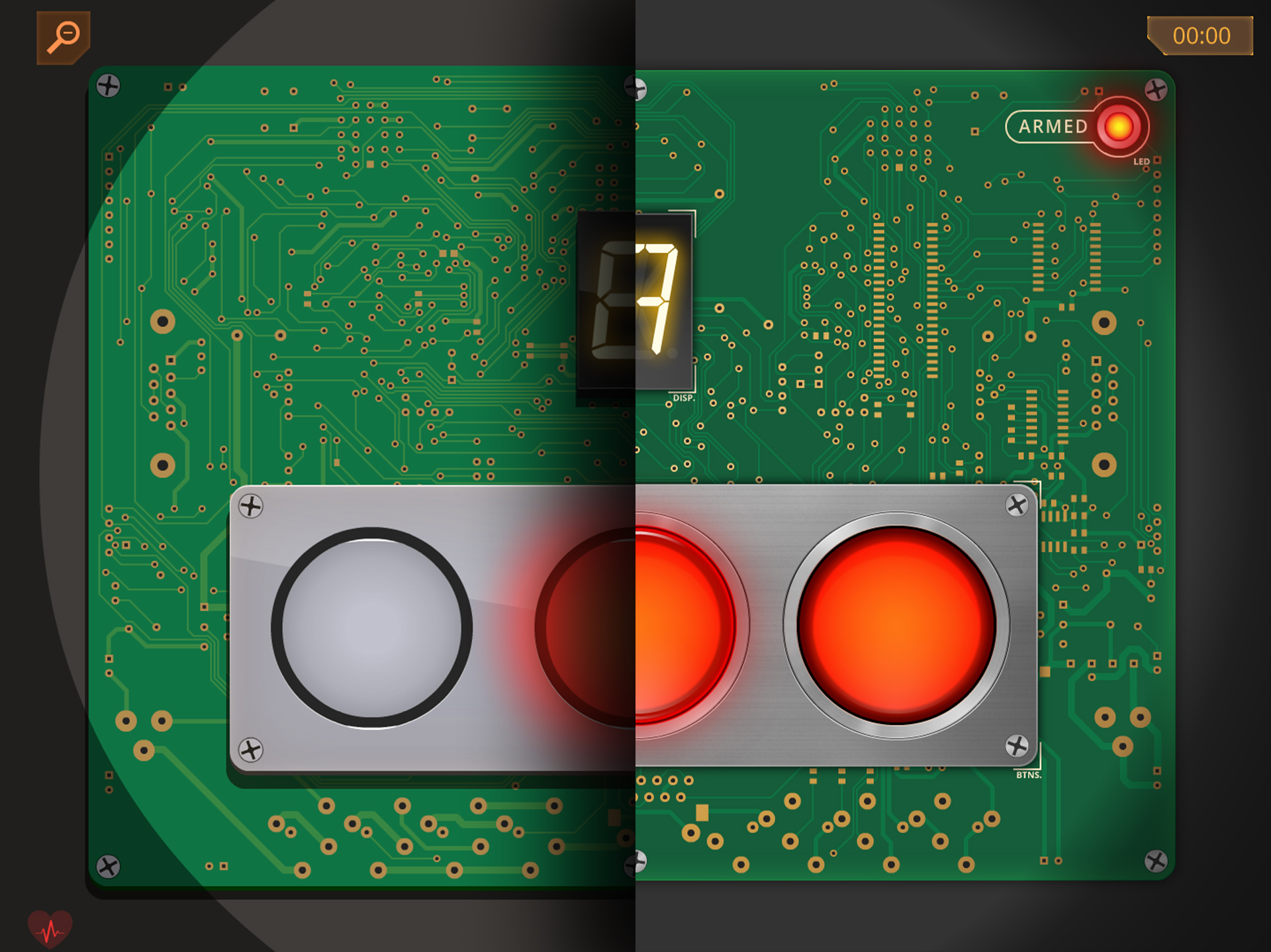 Them Bombs Three blinking buttons module then and now